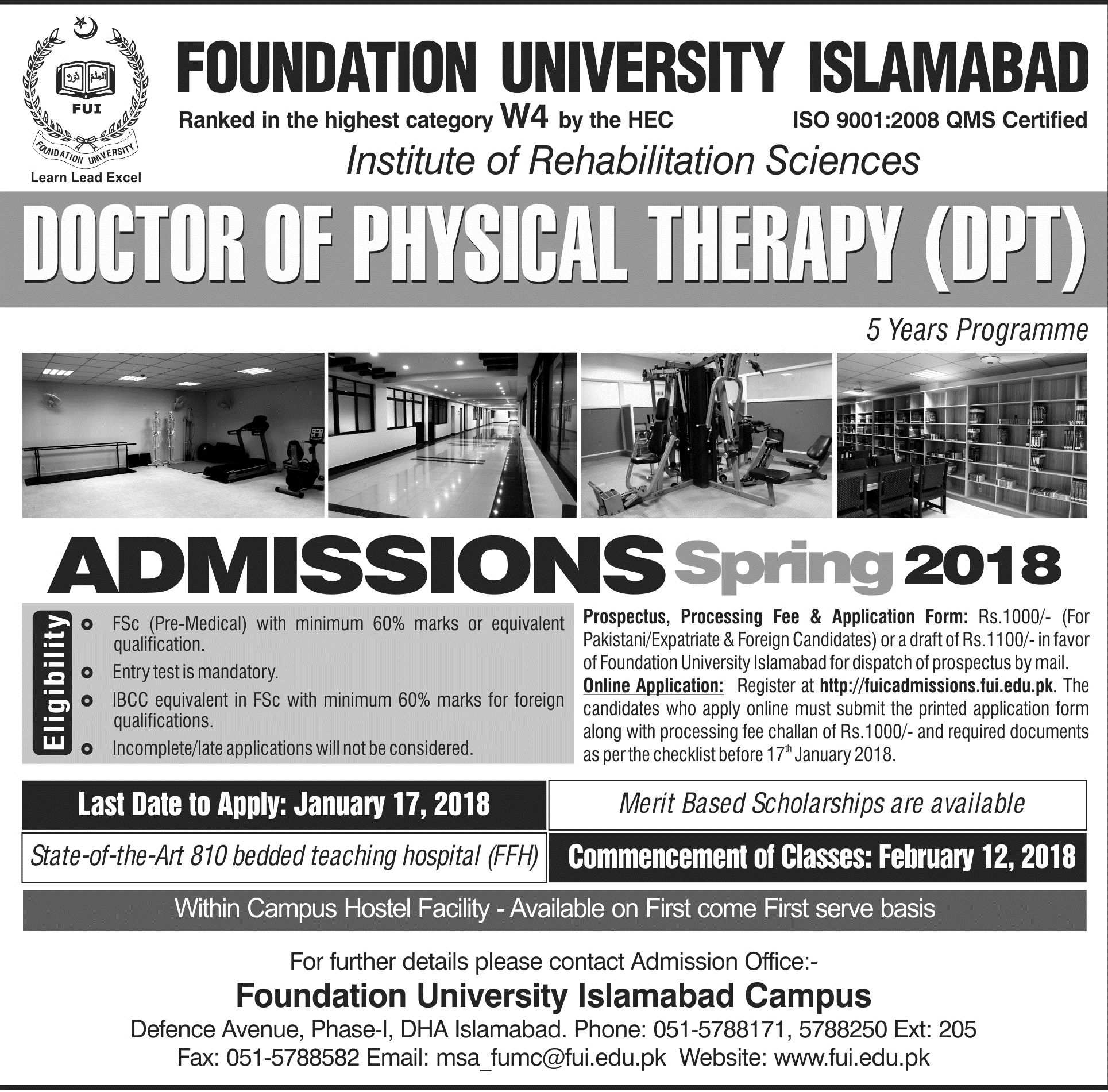 DPT Admissions Spring 2018