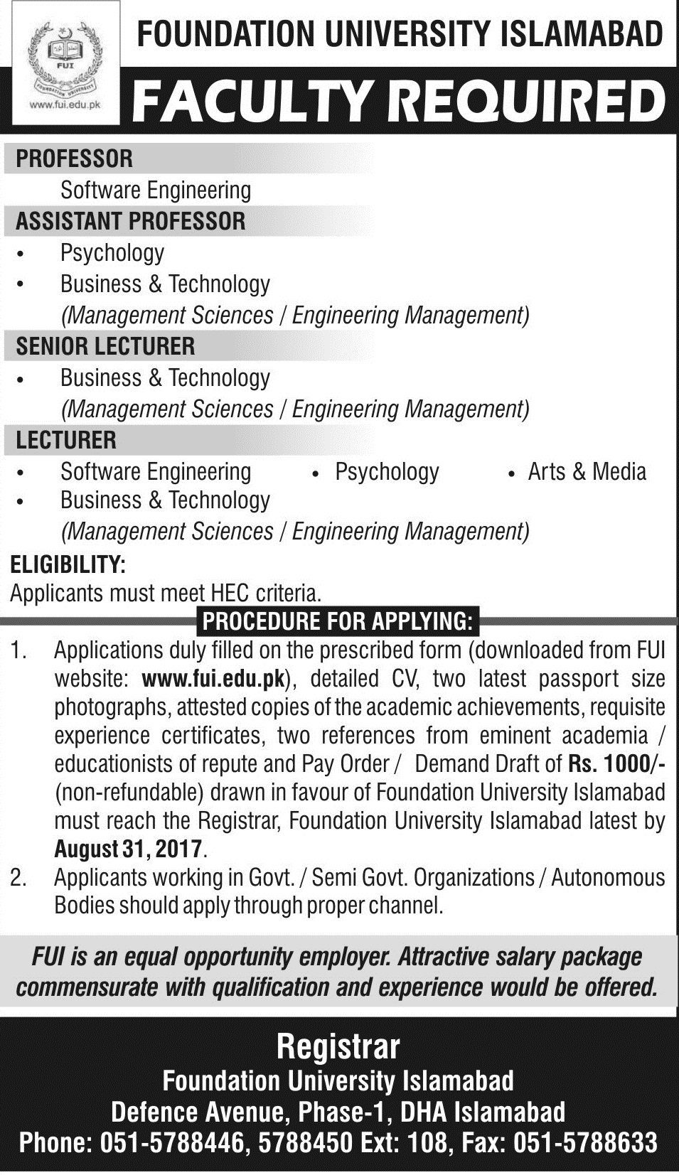 Faculty Required August 2017