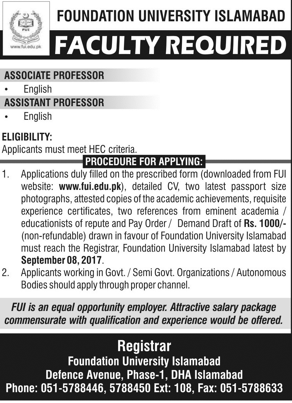Faculty Required 30Aug2017