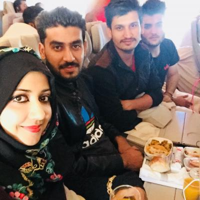 Cultural Exchange Program Students Enjoying Food In The Emirates Airbus A380 800 2